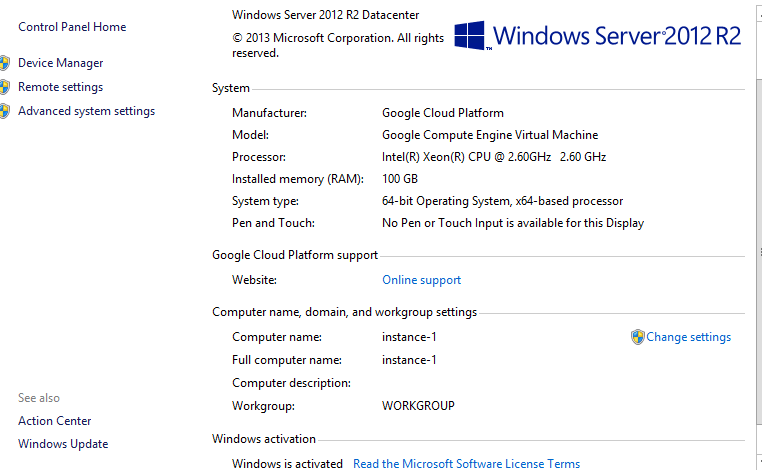 Google Cloud server 2012