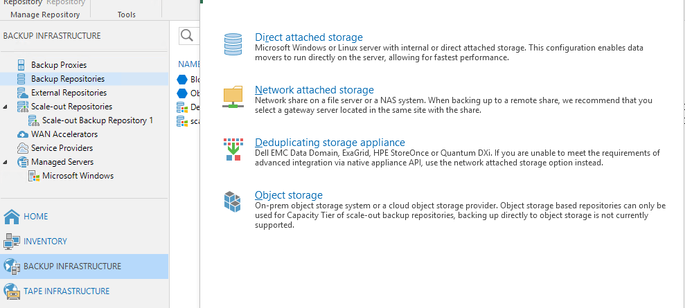 Veeam konsoldan Backup repositories