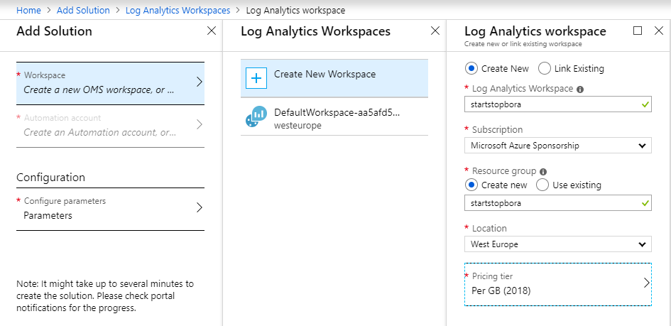 Log analytics workspace