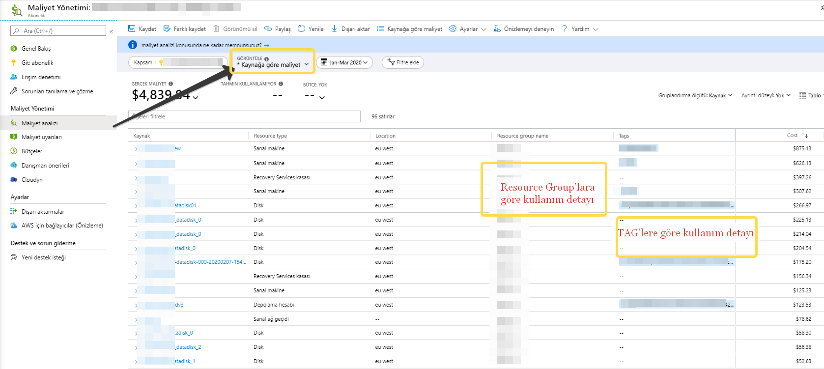 Azure New commerce Platform ve Cost Management