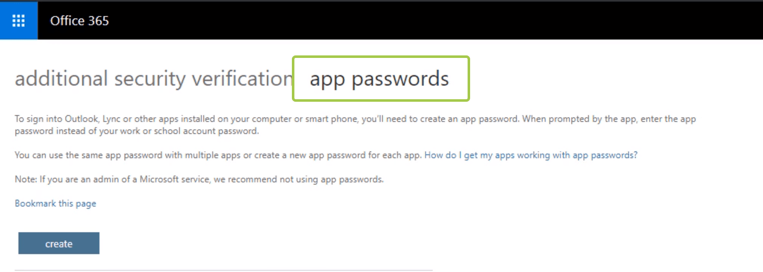Azure Multi Factor App passwords uygulama şifreleri