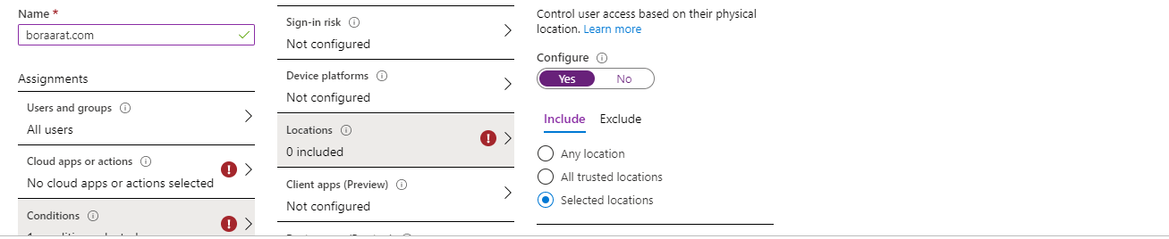 Conditional Access Policies Locations min - 10 Adımda Azure Multi-Factor Authentication (MFA)