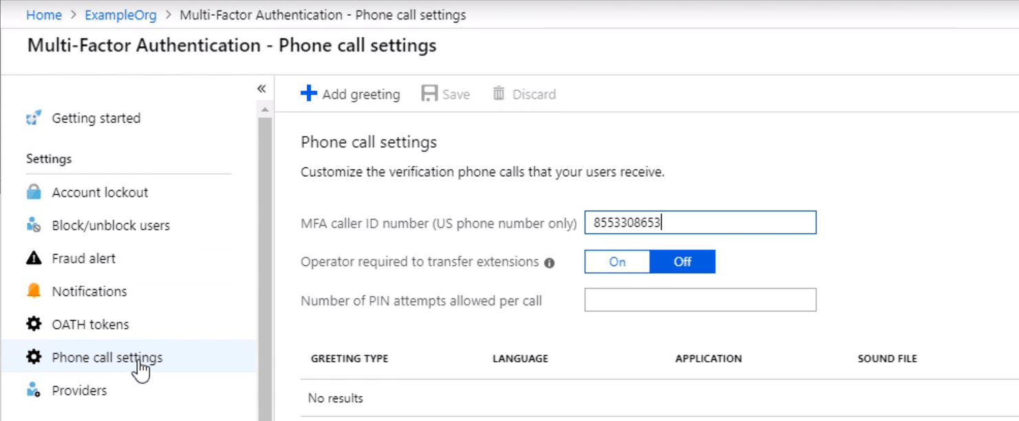 Multi Factor Authentication Phone Call Settings min - 10 Adımda Azure Multi-Factor Authentication (MFA)