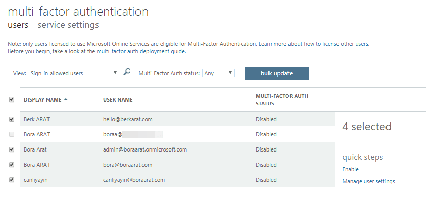 bulk update ve MFA enforce - 10 Adımda Azure Multi-Factor Authentication (MFA)