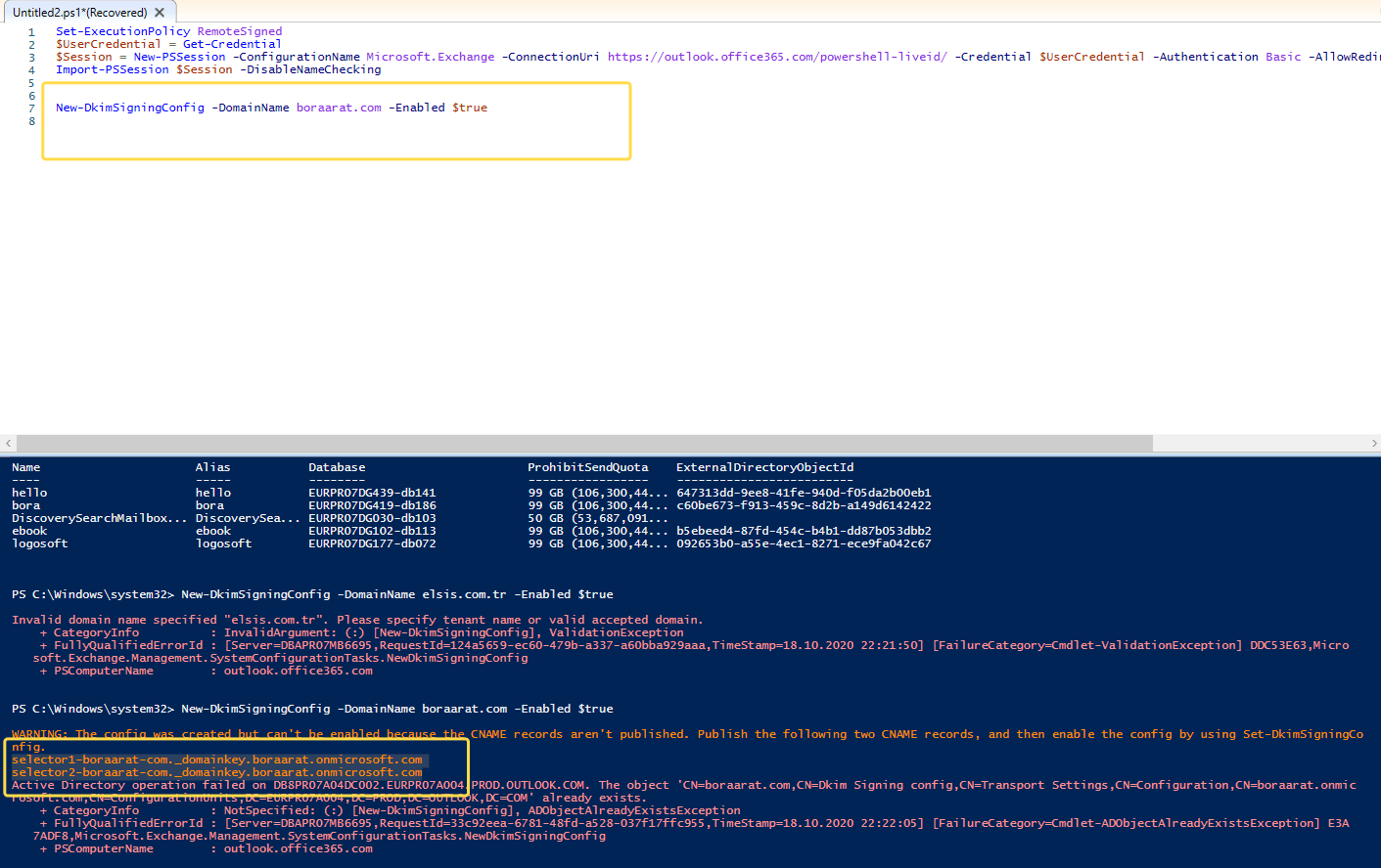 Office 365 DKIM Powershell komut command