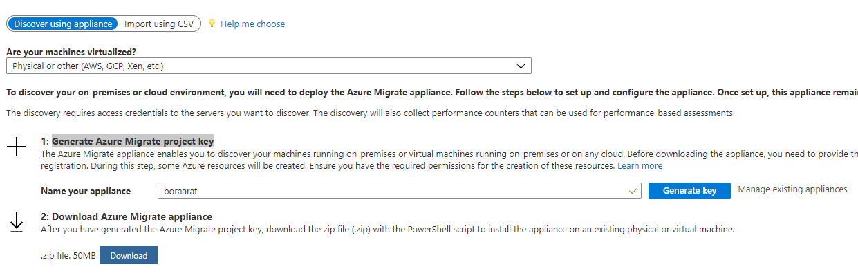 Generate Azure Migrate project key